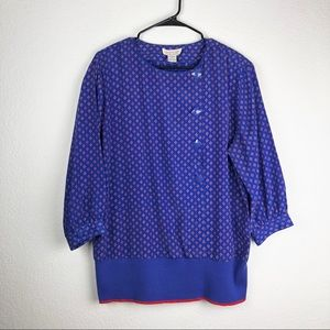 Vintage Bright Blue 80's Blouse With Buttons Sz 16
